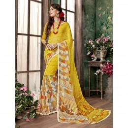 Georgette Printed Casual Saree In Yellow