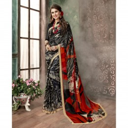 Black Georgette Printed Casual Wear Saree