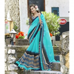 Printed Sky Blue Faux Georgette Casual Saree
