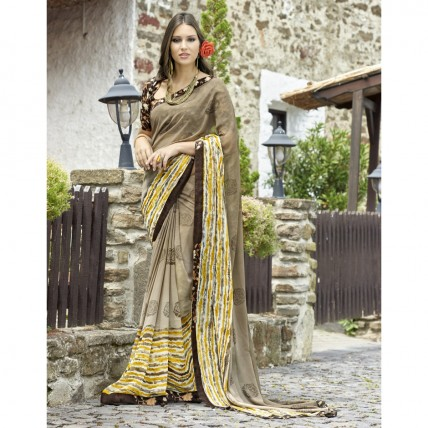 Grey Faux Georgette Printed Casual Wear Saree