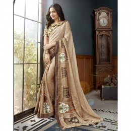 Printed Beige Faux Georgette Casual Saree