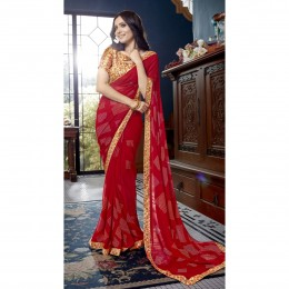 Red Faux Georgette Printed Saree For Casual Wear