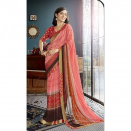 Peach Faux Georgette Printed Casual Wear Saree