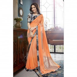 Orange Printed Casual Wear Saree In Faux Georgette