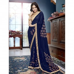 Blue Printed Casual Wear Saree In Faux Georgette
