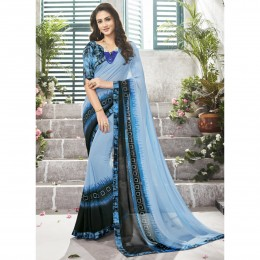 Sky Blue Printed Casual Wear Saree In Faux Georgette