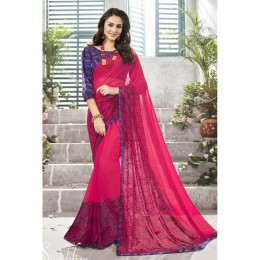 Pink Printed Casual Wear Saree In Faux Georgette