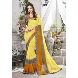 Yellow Printed Casual Wear Saree In Faux Georgette