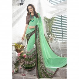 Green Printed Casual Wear Saree In Faux Georgette