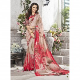 Beige Faux Georgette Printed Casual Wear Saree