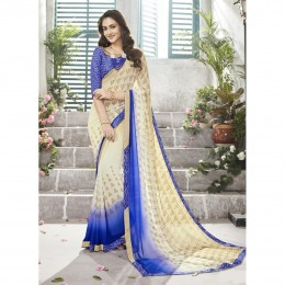 Off White Faux Georgette Casual Wear Saree In Print