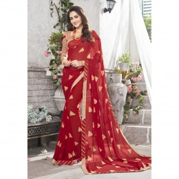 Red Faux Georgette Printed Casual Wear Saree