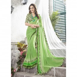 Green Faux Georgette Printed Lightweight Saree