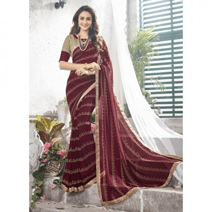 Maroon Faux Georgette Printed Casual Wear Sarees