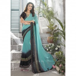 Sky Blue Faux Georgette Printed Lightweight Saree