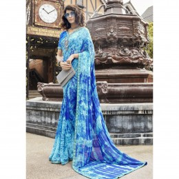 Sky Blue Lightweight Faux Georgette Printed Saree