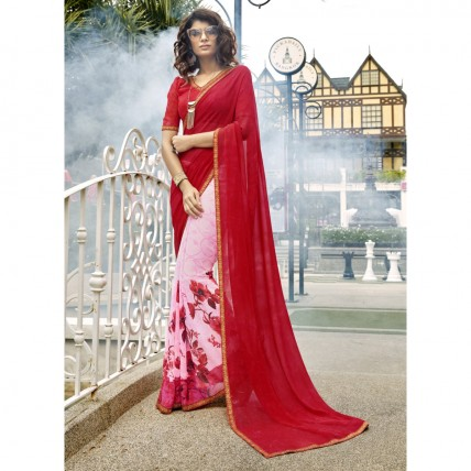 Pink Faux Georgette Printed Casual Wear Saree
