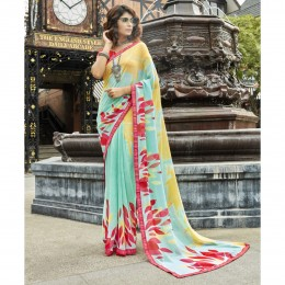 Green Faux Georgette Printed Casual Wear Saree