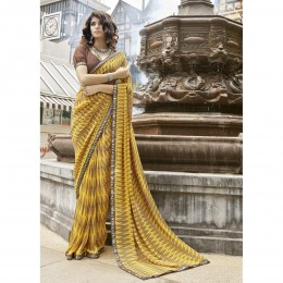 Yellow Lightweight Faux Georgette Printed Saree