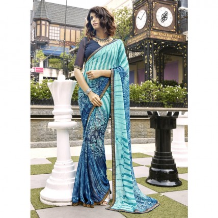 Sky Blue Faux Georgette Printed Casual Wear Saree