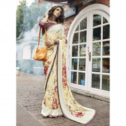 Off White Faux Georgette Printed Casual Wear Saree