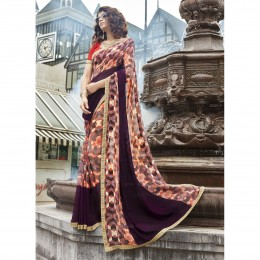 Purple Faux Georgette Printed Casual Wear Saree