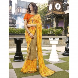 Yellow Faux Georgette Printed Casual Wear Saree