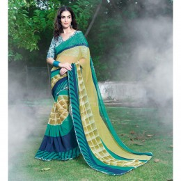 Beige Soft Chiffon Printed Saree