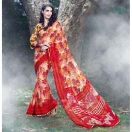 Off White Chiffon Printed Casual Wear Sarees