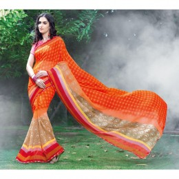 Orange Chiffon Printed Casual Wear Saree