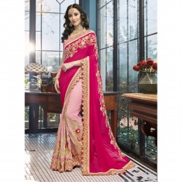 Pink Fine Faux Georgette Embroidered Wedding Saree