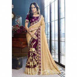 Purple Faux Georgette Embroidered Wedding Wear Sarees