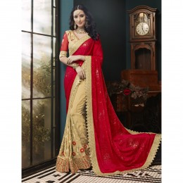 Beige Faux Georgette Embroidered Wedding Wear Sarees