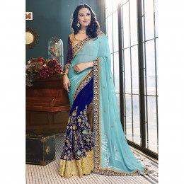Blue Faux Georgette Embroidered Wedding Wear Saree