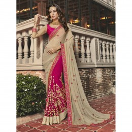Pink Faux Georgette Embroidered Wedding Wear Saree