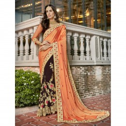 Brown Faux Georgette Embroidered Wedding Wear Saree