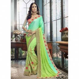 Green Faux Georgette Embroidered Wedding Wear Sarees