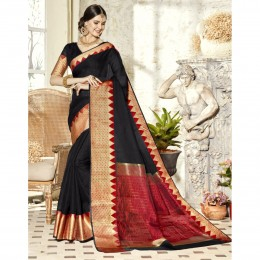 Black Blended Cotton Woven Festival Wear Sarees