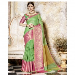 Green Blended Cotton Woven Festival Wear Saree