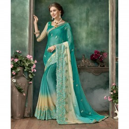 Green Chiffon Embroidered Festival Wear Sarees