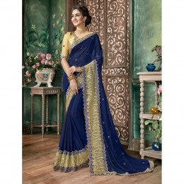 Blue Chiffon Embroidered Festival Wear Sarees