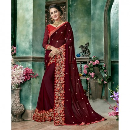 Maroon Georgette Embroidered Festival Wear Sarees