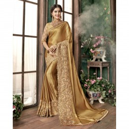 Golden Georgette Embroidered Festival Wear Sarees