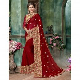 Red Georgette Embroidered Festival Wear Saree