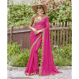 Pink Chiffon Border Worked Casual Wear Sarees