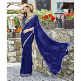Blue Chiffon Border Worked Casual Wear Sarees