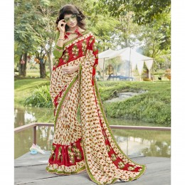 Cream Georgette Printed Casual Wear Sarees