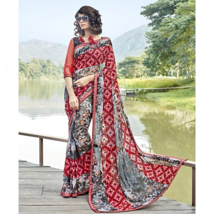 Multicolor Fine Georgette Printed Casual Saree