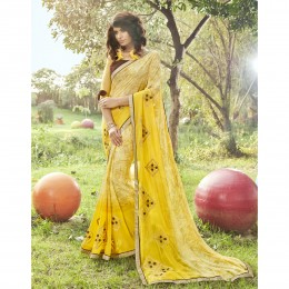 Yellow Georgette Printed Casual Wear Saree