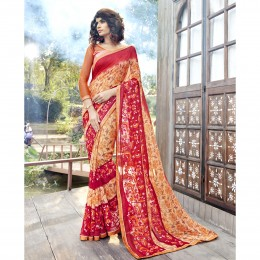 Orange Georgette Printed Casual Wear Saree
